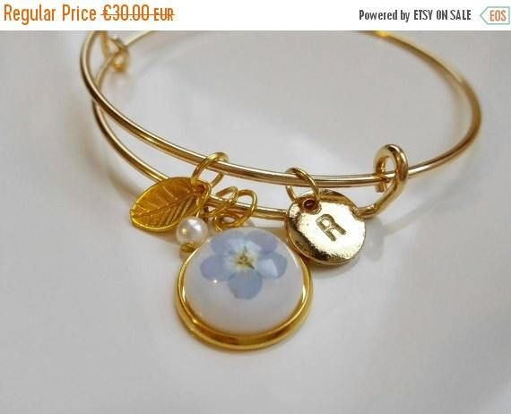 Forget Me Not gold initial Stamped bracelet bangle monogram letter charm personalized pressed flower bridesmaid custom jewelry wedding gift by MyJewelsGarden Myjewelsgarden Resin Jewellery