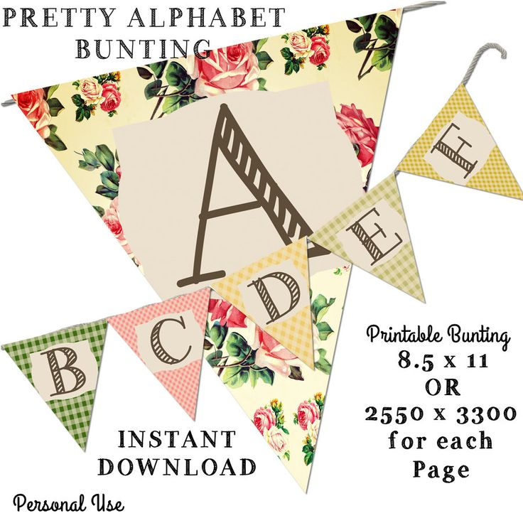 Printable Bunting -Pretty Alphabet Bunting -8.5 x 11 -Instant Download-Alphabet printable Decorations by JustDigitalPapers on Etsy