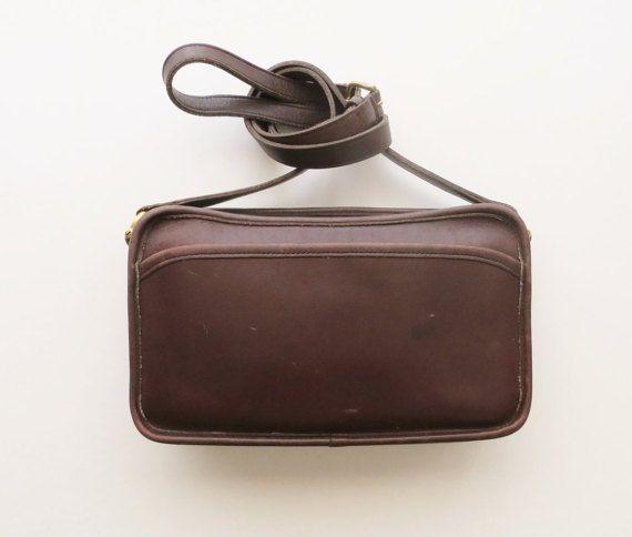 Vintage Authentic Coach Bag Brown Leather Crossbody Saddle Bag Purse Handbag Satchel Travel Designer