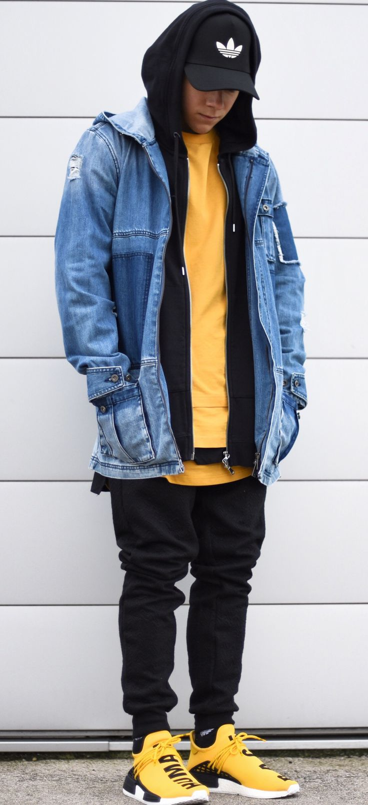 today im wearing a yellow short tshirt by @puma, middle length by @asos, extra long by @topman, black hoodie by @weekday_stores x @champion, denim jacket/pants by @iloveugly and shoes by @pharrell nmd hu. ----- Follow Me On Instagram As Well https://www.instagram.com/achmedlachned/ ---- #outfit #menswear #nmd #hu #pharrell #yellow #puma #asos #weekday #champion #topman #iloveugly #adidas #shoes #inspiration #ootd #menswear #streetstyle #fashion #austria #fall #winter #denim #jacket…