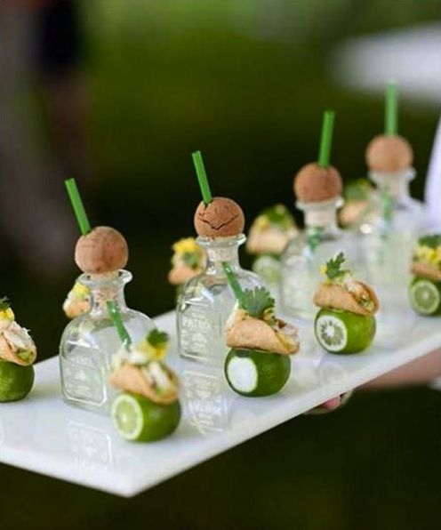 Cocktails: Wedding Ideas, Food, Mini Tacos, Mini Tequila, Tequila Shots, Minis, Drinks, Party Ideas