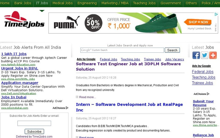 Find latest jobs, government jobs, bank jobs, It jobs and other field jobs quickly at Time2jobs. Get daily job updates and appropriate jobs for your bright career.
