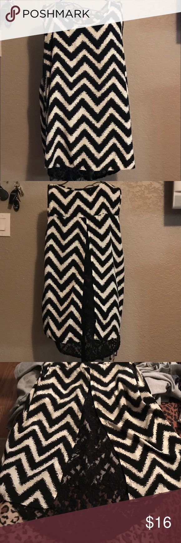 Black and white chevron top Black and white chevron top with open back and  black lace underneath Moa Moa Tops Blouses