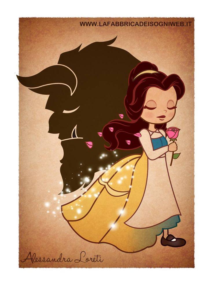 Belle [feat. Adam as the Beast] (Drawing by Fabbrica-Dei-Sogni @deviantART) #BeautyAndTheBeast