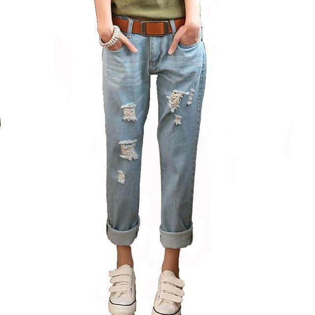 Spring Casual Women'S Jeans Harem Pants Lady Leggings Holes Denim Pants Ripped Jeans Trousers Plus Size Mz402 light blue 28