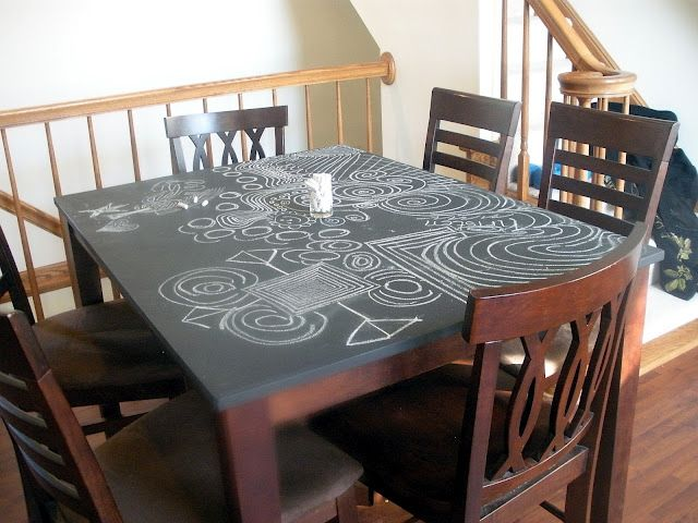 Chalkboard table top - maybe that's a good way to refinish our tiny, old dining room table...