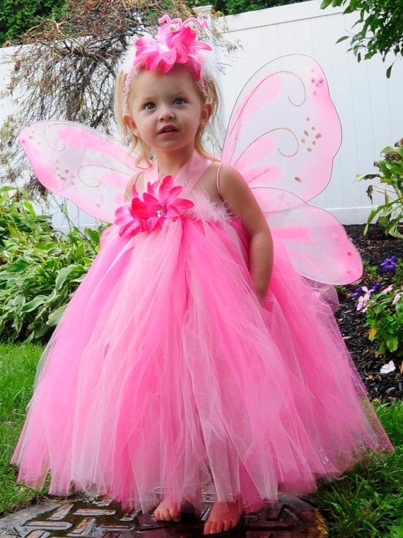 Sale - PINK BUTTERFLY Halter Top Tutu Halloween Costume Dress Set, via Etsy.