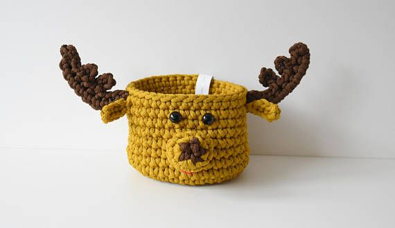 Nursery basket Moose Crochet Moose Crochet basket Children