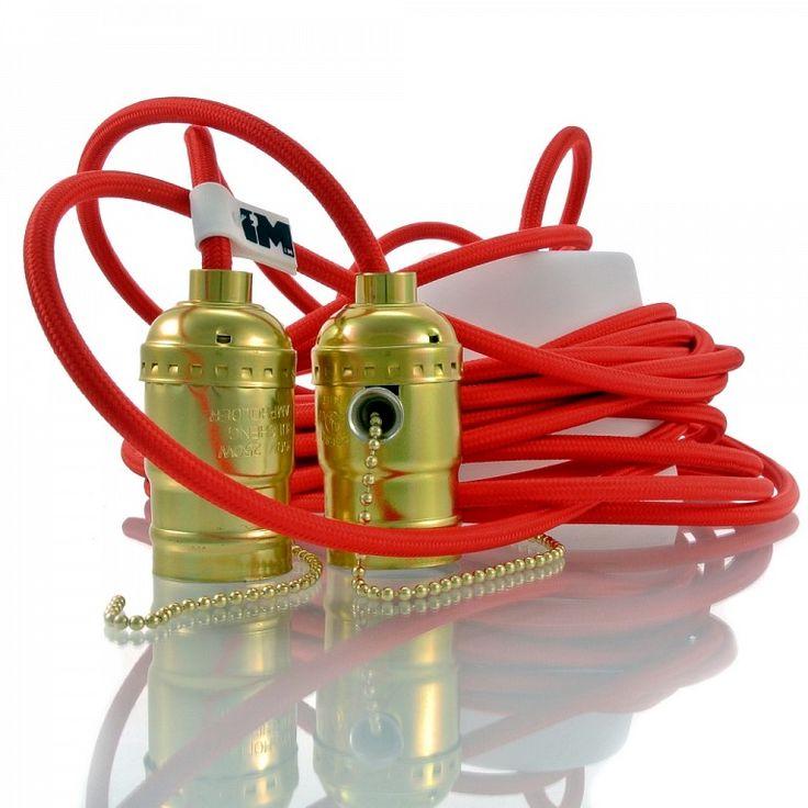 Lampy wiszące do kuchni, salonu, sypialni, kolorowe kable, żarówki dekoracyjne. http://www.sklep.imindesign.pl/product/retro-lampa-kable-w-oplotach-double-red