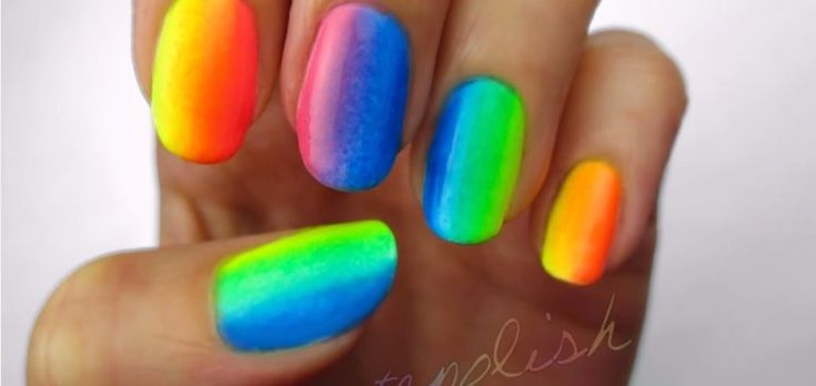 rainbow_nails | DIY Rainbow Ombre Nail Art With Just 3 Colors