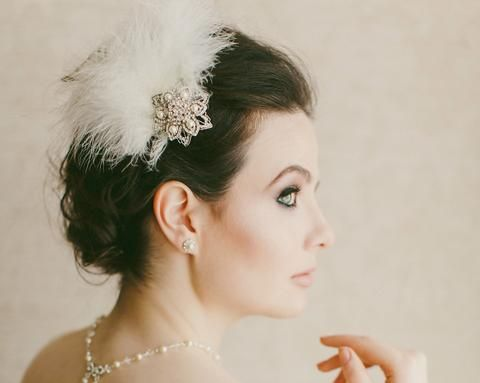 Birdcage Veils & Fascinators - Vintage Inspired Wedding Feather Headpiece, Trinny