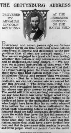 The Gettysburg Address, written by Abraham Lincoln in less than an hour. The speech took less than five minutes to deliver, and the photographer on the scene didn't capture photos because his camera wasn't ready, as he was expecting Lincoln to talk for at least an hour. Reading the text still gives me goosebumps