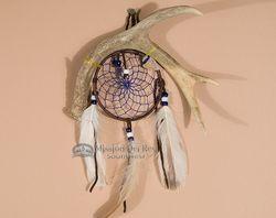 "native american indian dream catchers | Native Navajo Indian Antler Dream Catcher 4"" -Blue (dc4-12)"