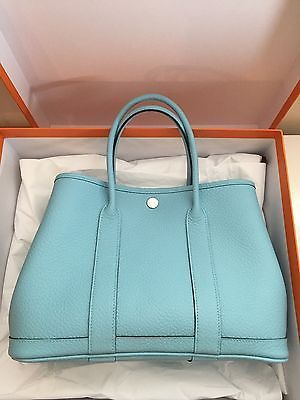 NEW 2015 HERMES Garden Party 30 Tote Leather Bag Blue Atoll Stamp ...