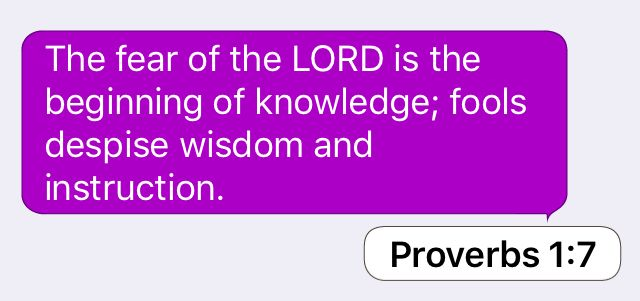 Proverbs 1:7: The fear of the LORD is the beginning of knowledge; fools despise wisdom and instruction.
