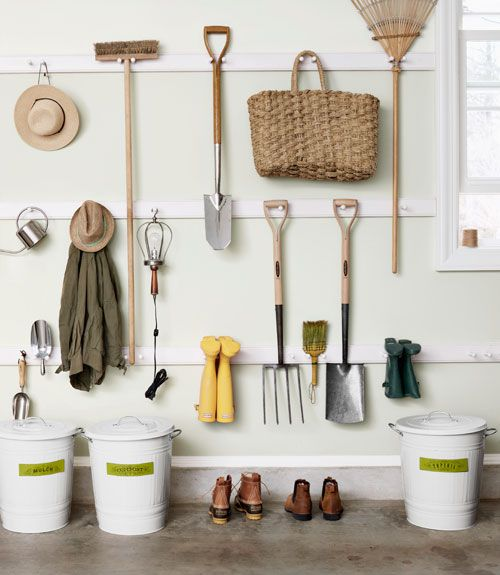 Your walls aren't just for decorating! Peg rails can help you store your garden tools on the wall in your garage, keeping it away from the floor and organized on your wall.