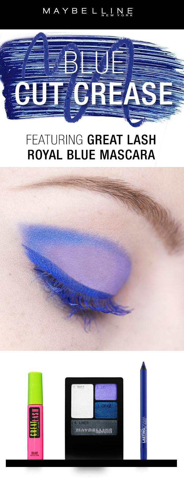Get this gorgeous blue cut crease with three easy products! Use our Expertwear Eyeshadow Quad in 'Electric Blue' for this cut crease eyeshadow look.  Next, line the upper lash line with the Lasting Drama Gel Pencil in 'Lustrous Sapphire'.  Finally, coat your lashes with the Great Lash Royal Blue mascara!