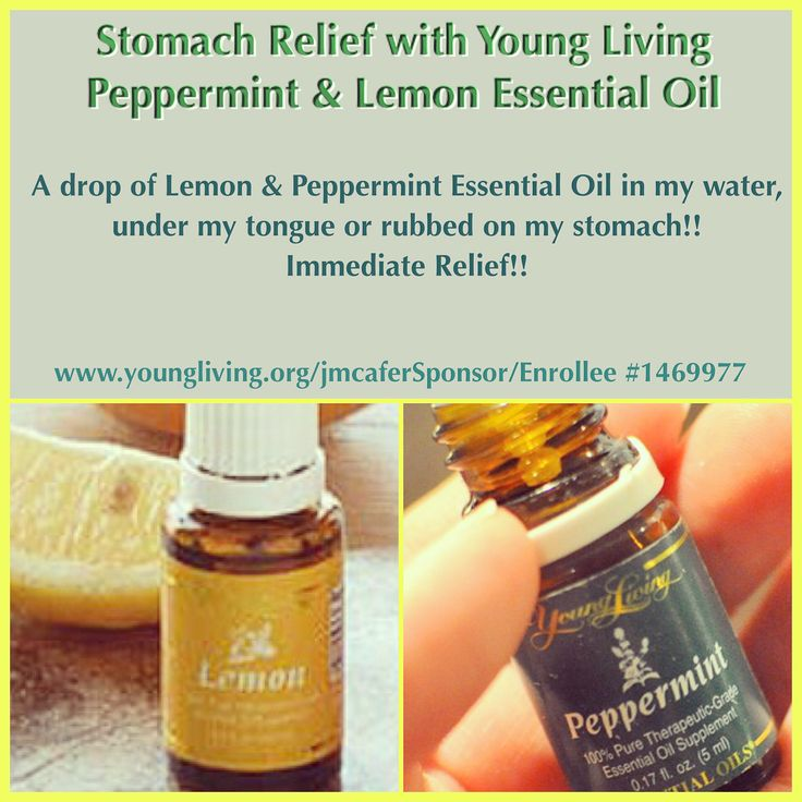 Stomach relief with peppermint and lemon essential oils.
