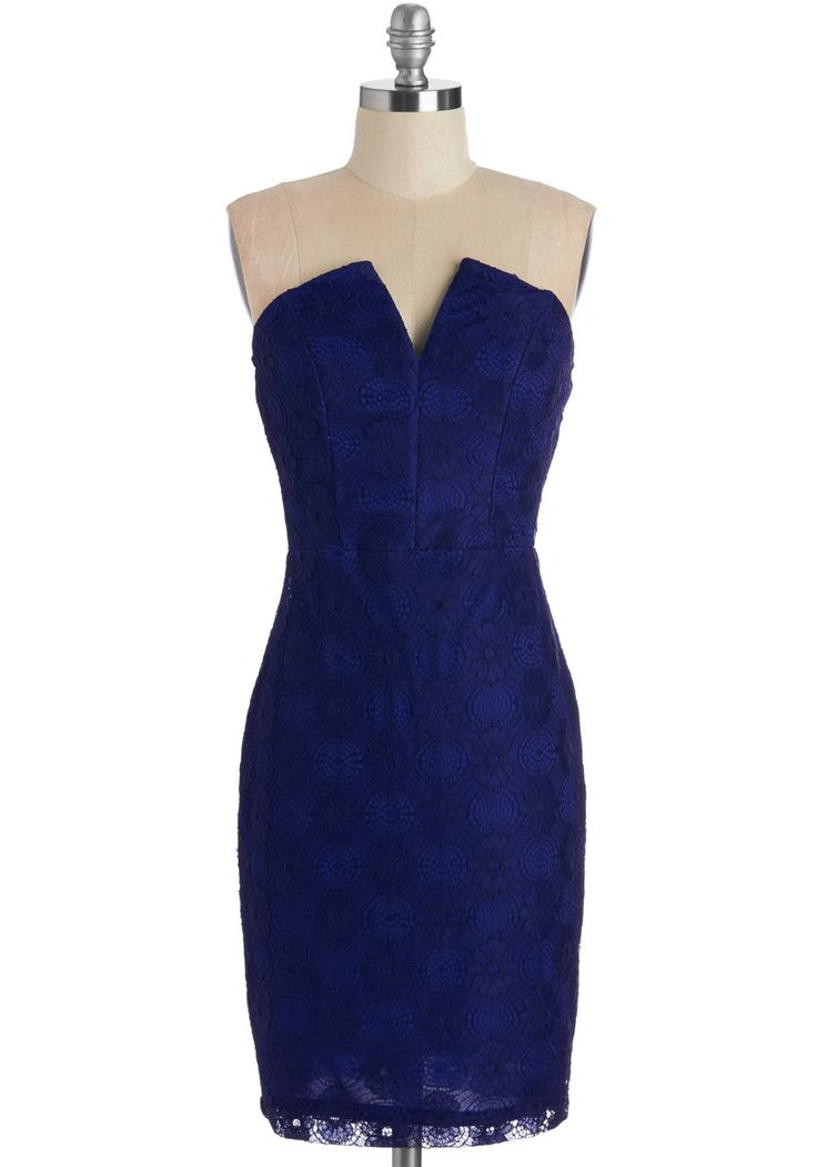 Call It a Date Night Dress in Cobalt - Short, Blue, Solid, Embroidery, Party, Girls Night Out, Strapless