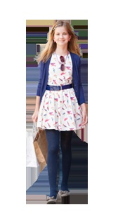 A classic Autumn look comprising of a patterned dress, belt and tights for 10-16 year old girls available at Babyshop.