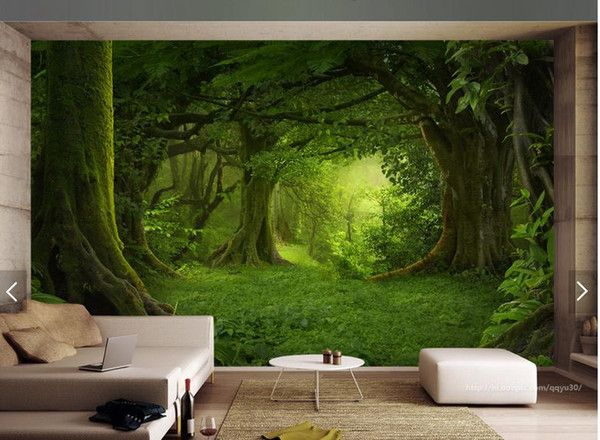 3D HD murals modern three-dimensional style wall into the original deep forest close to thenatural fresh frameless background wallpaper