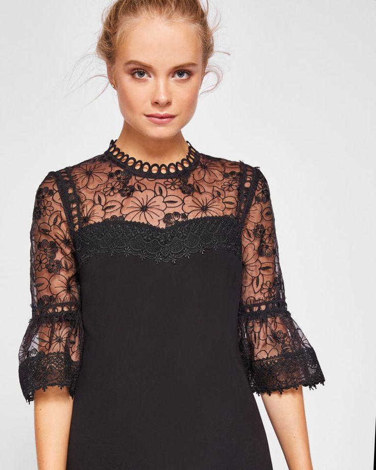 Lace peplum sleeve dress - Black | Dresses | Ted Baker UK