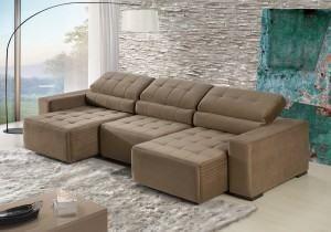 Sofá reclinável 3 lugares em suede e chaise