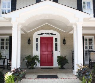 Red front door, taupe house, black shutters | House exterior ...