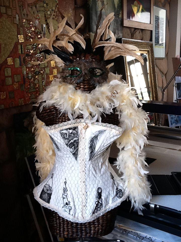 "Pauline Hugo ""Components of Pleasure"" Completed Corset. Hard Ground Intaglio Printing on 100% cotton fabric"