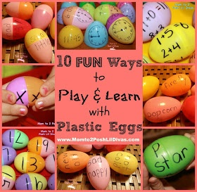 Mom to 2 Posh Lil Divas: 10 Ways to Use Plastic Eggs for Learning with Kids