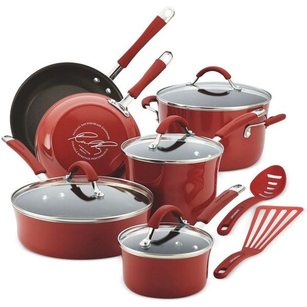 Rachael Ray Cucina Hard Enamel Nonstick 12-Piece Cookware Set (465 BRL) ❤ liked on Polyvore featuring home, kitchen & dining, cookware, red, red cookware, enamel coated cookware, rachael ray cookware, rachael ray and enamel cookware
