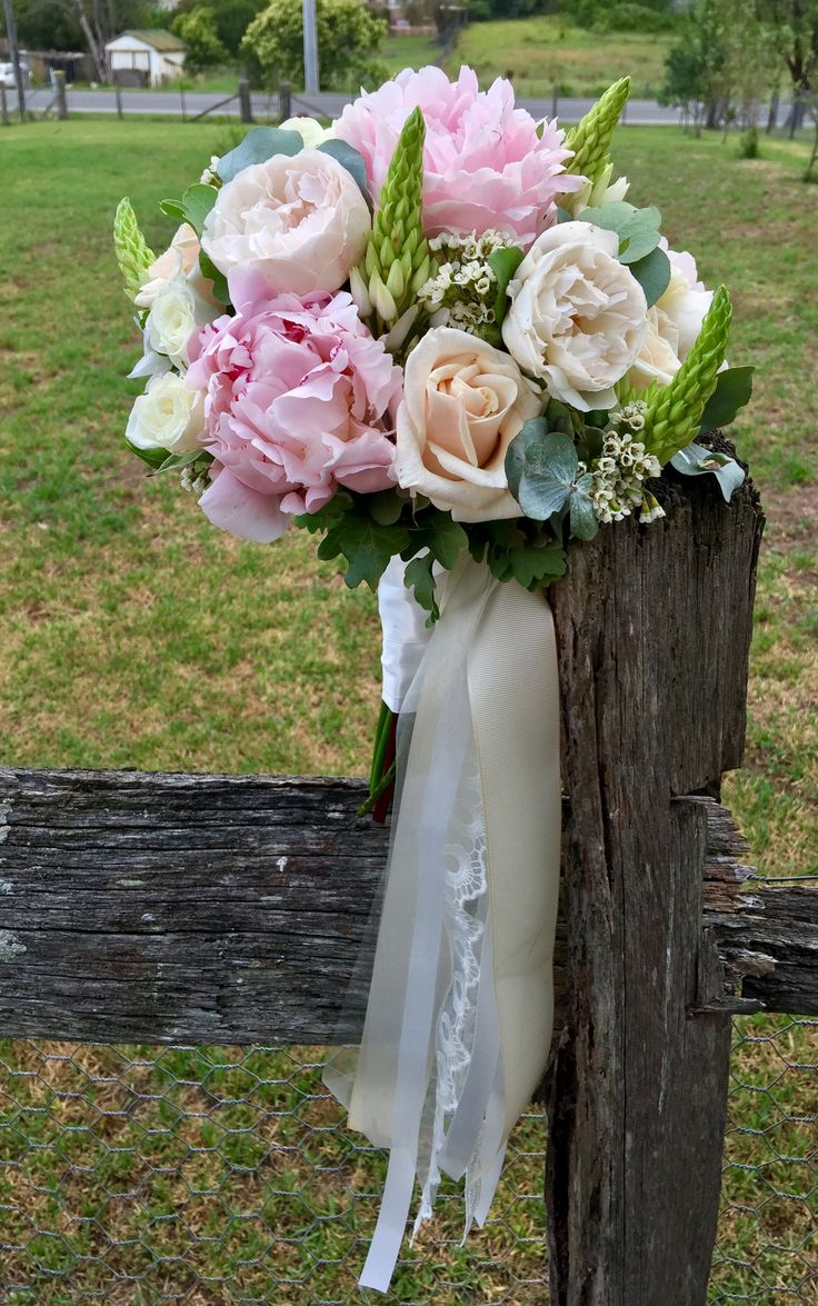 Peony, David Austin roses, chins, waxflower Bouquet created by Lovely Bridal Blooms