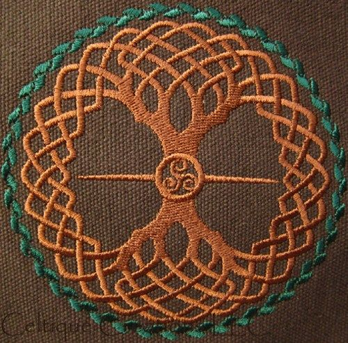 Celtic Knot Tree of Life Engineer Messenger Bag Brown Cotton Canvas @Katie Lindsey You should stitch this.