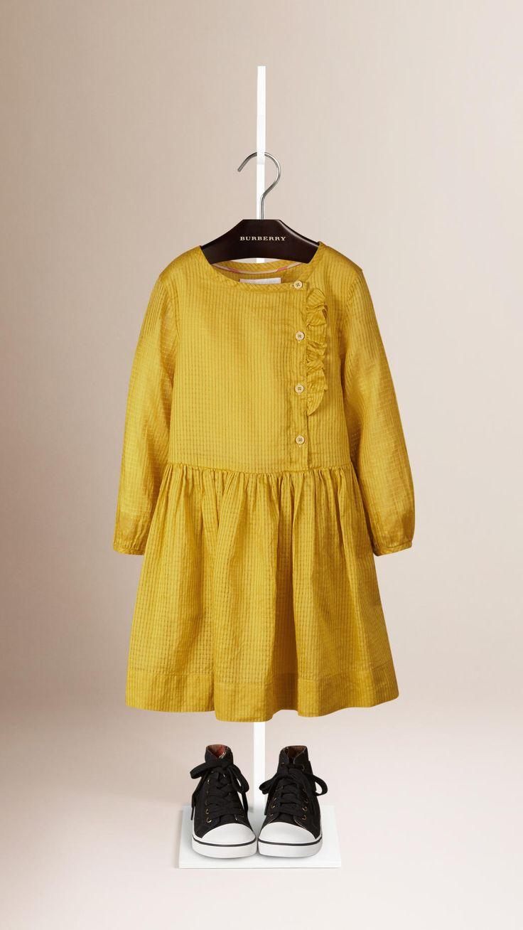 Robe en coton avec volants Jaune Agrume | Burberry