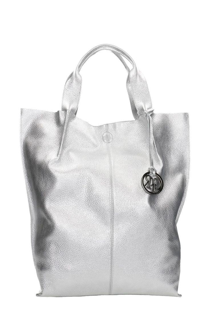 Torebka - Gino Rossi - srebrna shopperka