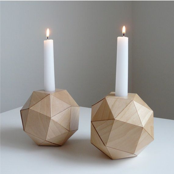 These are made from folded wood veneer!: Polyhedron Candlesticks, Geometric Woods, Woods Candlesticks, Candle Holders, Candles Holders, Hotels Interiors, Interiors Design, Geometric Shape, Design Studios