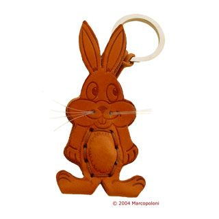 leather keychains: CONIGLIO - Rabbit Italian Leather Key Chain