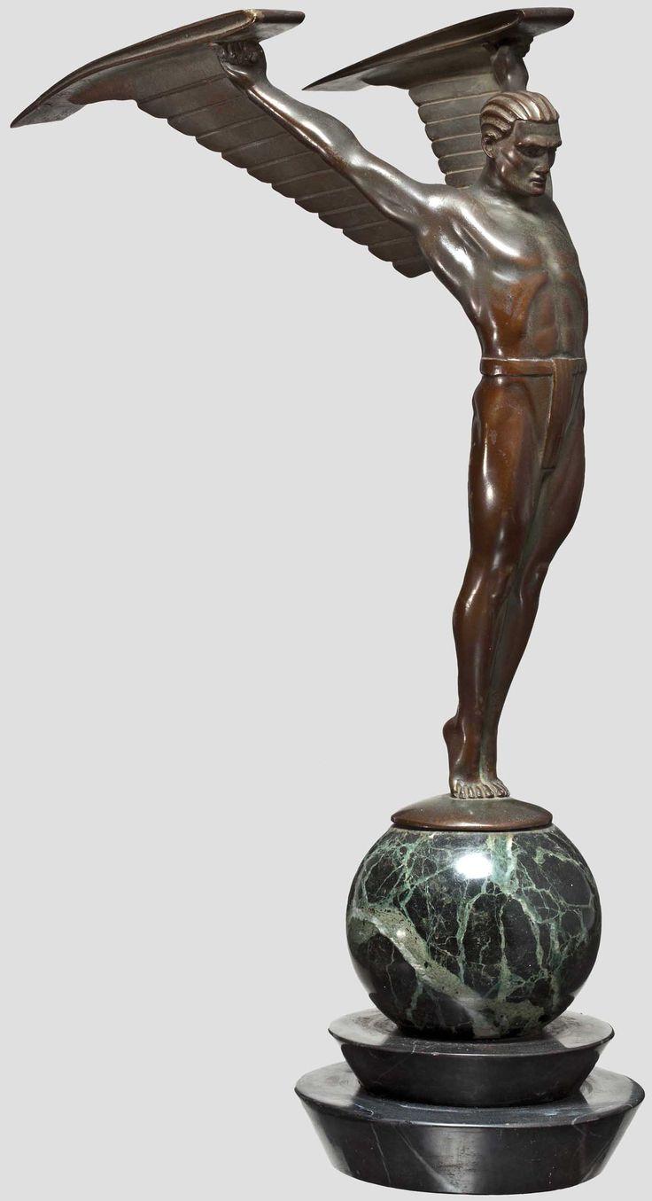 ikarus bronze art deco 1920 otto schmidt hofer 1873 1945 limit 1800 zuschlag 2300 style. Black Bedroom Furniture Sets. Home Design Ideas