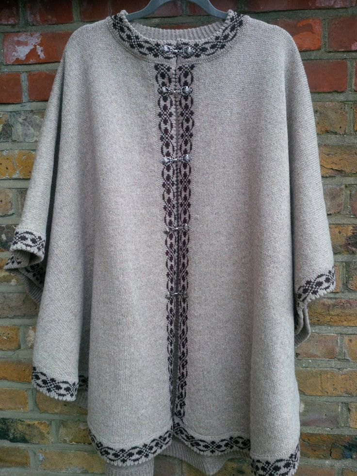 SALE 20% OFF Pure Wool Ladies Poncho Beige with Black Trim by ArtEstWool on Etsy