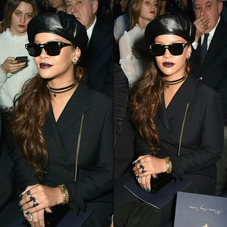 Rihanna Dior fall 2017 show wool coat, beret, suede thigh-high boots, J'adior sunglasses and earrings, Diorevolution choker and bracelets