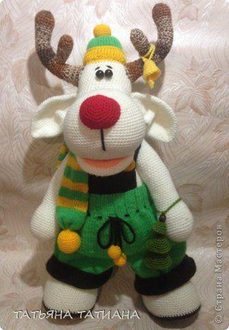 Игрушка Новый год Вязание крючком Вязание спицами Альбинос красный нос  Олень Святогор  Пряжа