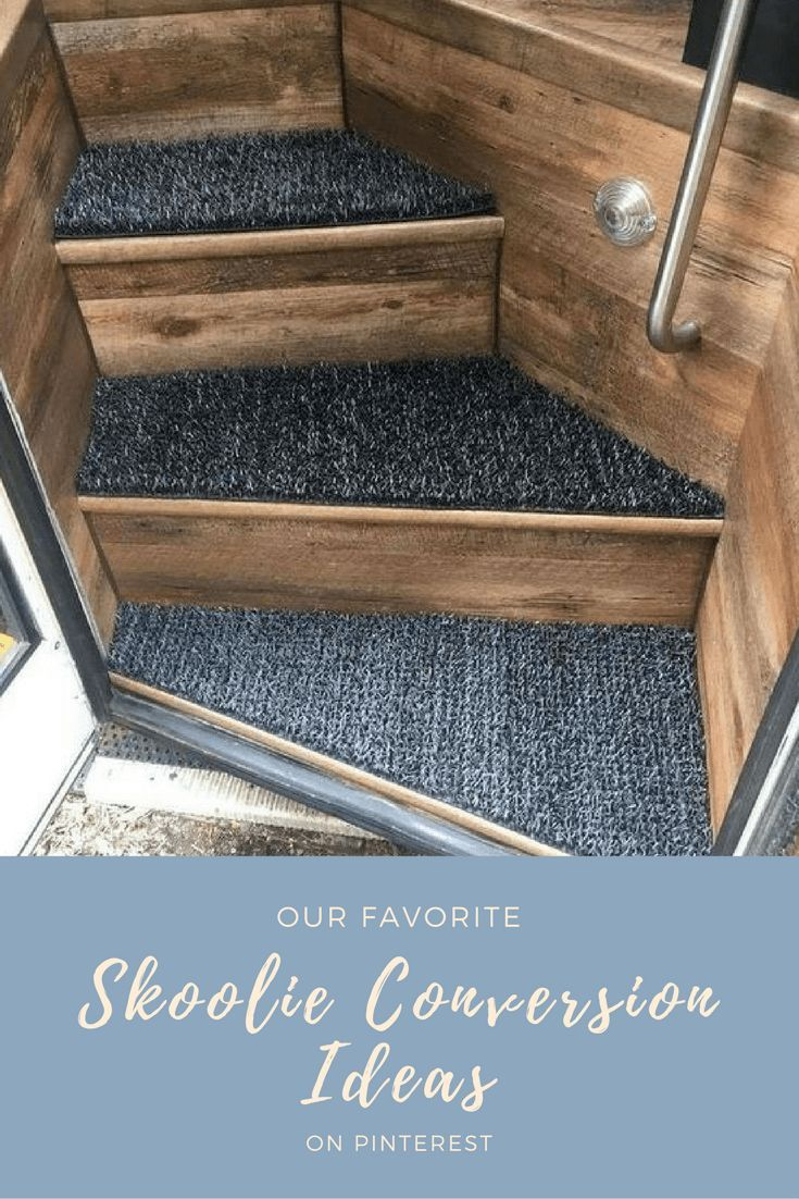 We love the idea of wood veneer and outdoor carpet on this Skoolie Conversion. I wish we had been able to find the original owners pin, or the twitter account associated with it. If you are the owner, please let us know so we can start to send traffic to your blog too! But today we have our favorite Skoolie Conversion Ideas on Pinterest