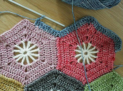 Crohet hexagon blanket, free tutorial   Happy in Red ~k8~