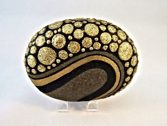 Unique 3D Art Object OOAK Painted Rock Black Gold by IshiGallery, $150.00