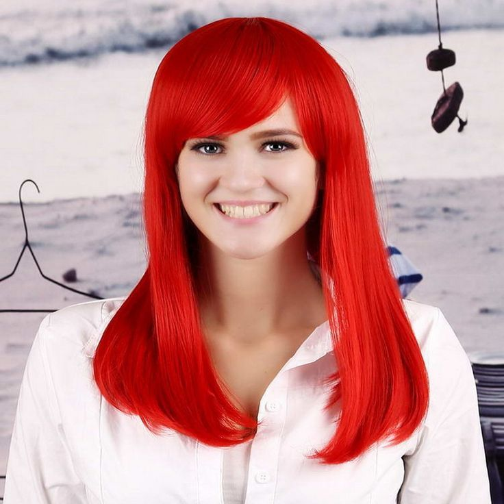 Hot Sale 45cm Straight Long Red Wig With Bangs For Women Heat Resistant Synthetic Fashion Natural Hair Wigs Peruca Cosplay
