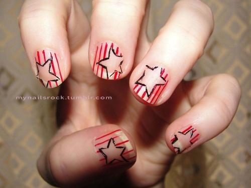 #red #stripes and #black #stars #nailartBlack Stars, Stars Nailart