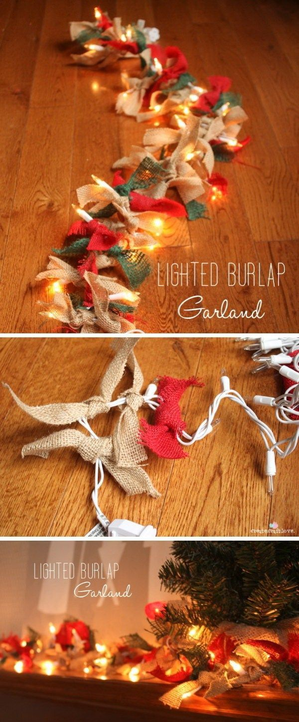 Lighted Burlap Garland. This is a quick and easy DIY centerpiece idea! It adds a rustic touch to holiday decor!