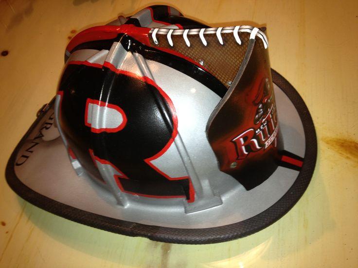 Custom airbrushed rutgers fire helmet fire fighting