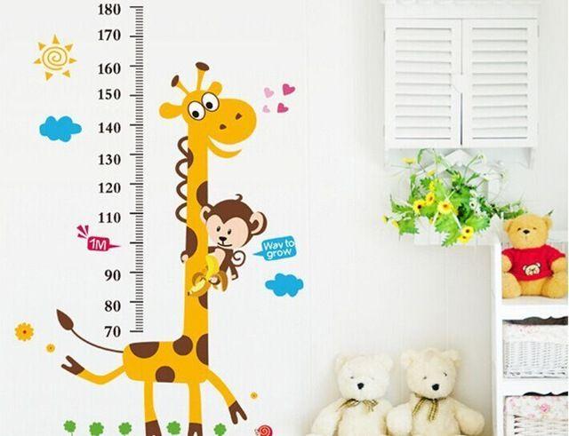 1 set grote maat 100*180 cm kinderen groeigrafiek muursticker & giraffe kids hoogte meten schaal