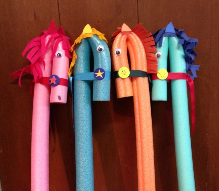 Stick Ponies made from swimming noodles